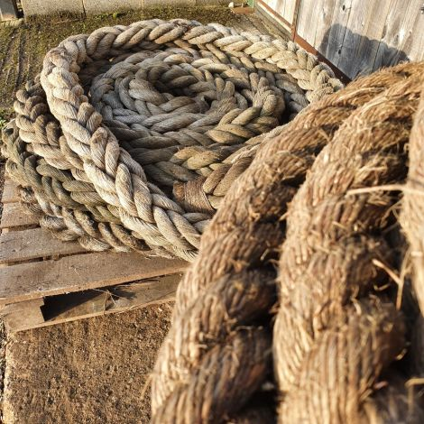 Harbour Ropes, Very Big Diameter  approx. 130m in total. Aged and patinaed. RENTAL ONLY