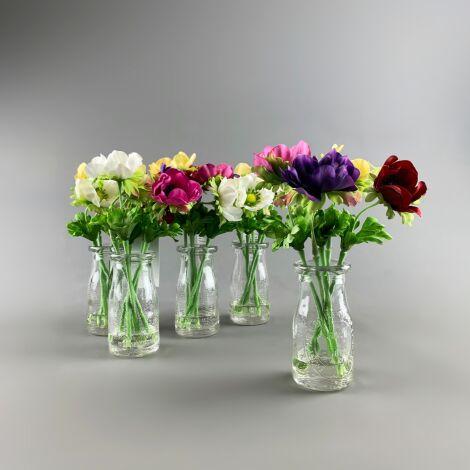 Flowers in Chemist Bottle, AnemonesArrangement, 25 cm artificial flower & foliage decor. Set of 5