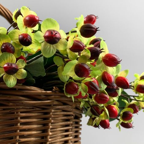 Hypericum Berries, red 72 cm, artificial foliage, posable stems