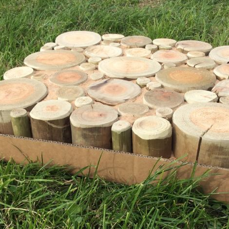 Eucalyptus Trunks, natural, organically shaped stepping stone 45 cm by 45 cm