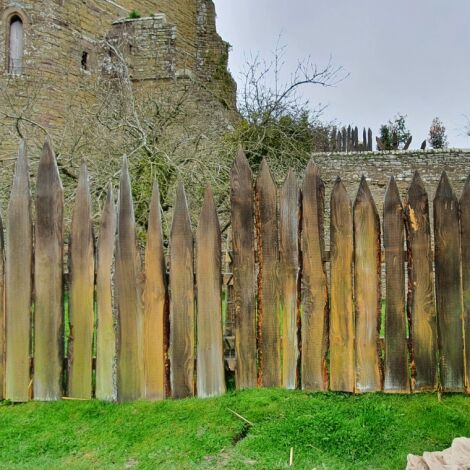 """Medieval Fencing Panel, approx. 4'6"""" (1.4 m) high, 6' (1.8 m)wide. Craftsman made and aged."""
