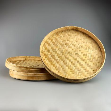 Bamboo Round Platter/Basket, approx. 50 cm diameter by 5 cm deep, hand woven