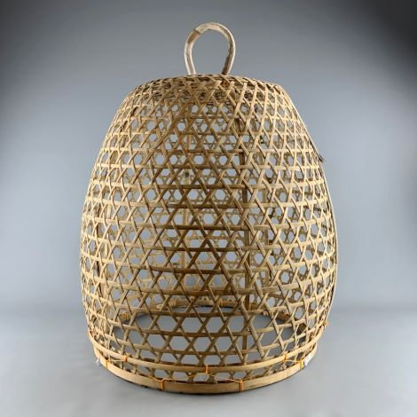 """Oriental Bamboo Bird Cage, approx. 32"""", 82 cm tall by 25"""", 65 cm diameter. Hand woven and authentic with handle and removable base"""