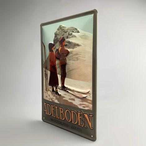 Retro Ski Posters, Enamelled, Embossed Metal Sign - 30 x 20 cm