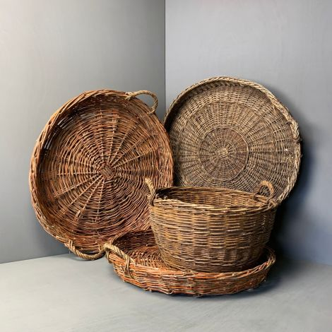 4 x Fish Platters, vintage woven willow with patina. RENTAL ONLY