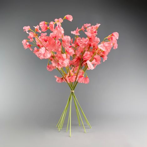 Sweet Pea, Pink, approx. 47 cm tall with 12 flowers 6cm dia. Artificial bloom with posable wired stem