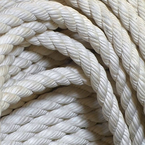 Cotton Rope, 12, 18, 24 or 32 mm diameter available. Natural wound rope