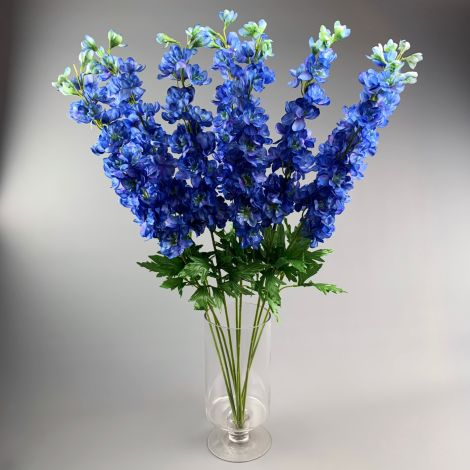 Delphinium, Blue 86 cm tall artificial stem with foliage