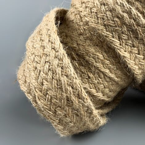 Plaited Hessian Band x 9 m by 25 mm width, natural hand crafted plaited hessian string hank.
