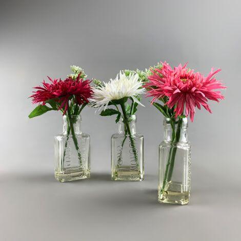 Flowers in Chemist Bottle, Gerbera Arrangement, 25 cm artificial flower & foliage decor. Set of 3